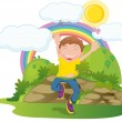 Boy on rainbow background — Stock Vector