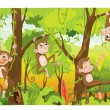Stock Vector: Cartoon monkeys