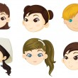 Girls heads - Stock Vector