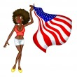 usa flag girl — Stock Vector