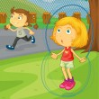 Royalty-Free Stock Vector Image: Girls playing in the park