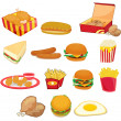 Vector de stock : Junk food on white