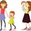 Kids with mom — Vector de stock #10116233