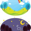 Rainbow and dark sky — Stock Vector