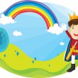 Stock Vector: Boy and rainbow