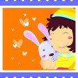 Stock Vector: Rabbit Hug