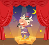Cow on stage — Stock Vector