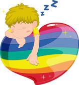 Spící chlapec — Stock vektor