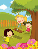 Cartoon illustration of kids in the park — Stock Vector