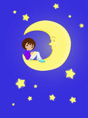 Girl sitting on a moon — Stock Vector