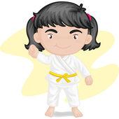 Flicka som leker kung-fu-karate — Stockvektor
