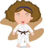 Girl playing koong-foo-karate — Stockvektor