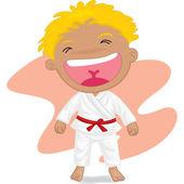 Pojke spelar koong-foo-karate — Stockvektor