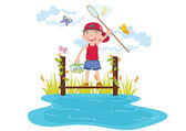 Boy catching butterfly in garden — Vector de stock