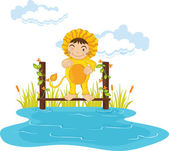 Kid in lion dressup — Stock Vector