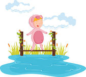 Kid in pig dressup — Stock Vector