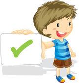 Boy showing tick correct — Stock Vector