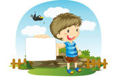 Boy showing white paper — Stock Vector
