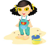 Toddler on beach — Stock Vector