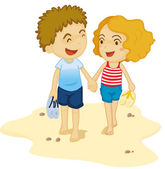 Girl and boy — Stock Vector