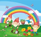 Cartoon illustration of gnomes — Stock Vector