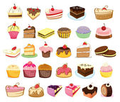 Cakes and desserts — Stock Vector
