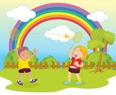 Kinder spielen badminton — Stockvektor