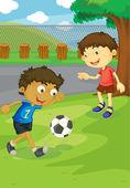 Soccer in the park — Stock Vector