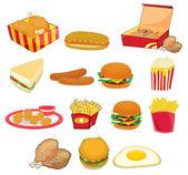 Nezdravé potraviny na bílém pozadí — Stock vektor