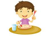 Barn äter — Stockvektor