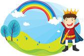 Jongen en regenboog — Stockvector