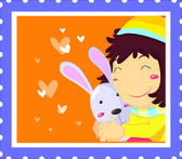 Rabbit Hug — Stock Vector