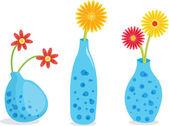 Three blue vases — Stock Vector