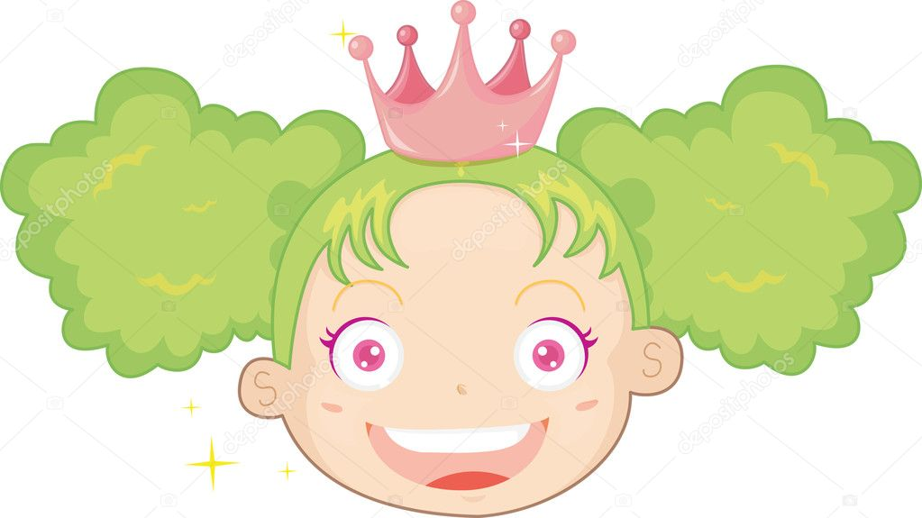 Illustration of girl with green hair — Stock Vector #10114469