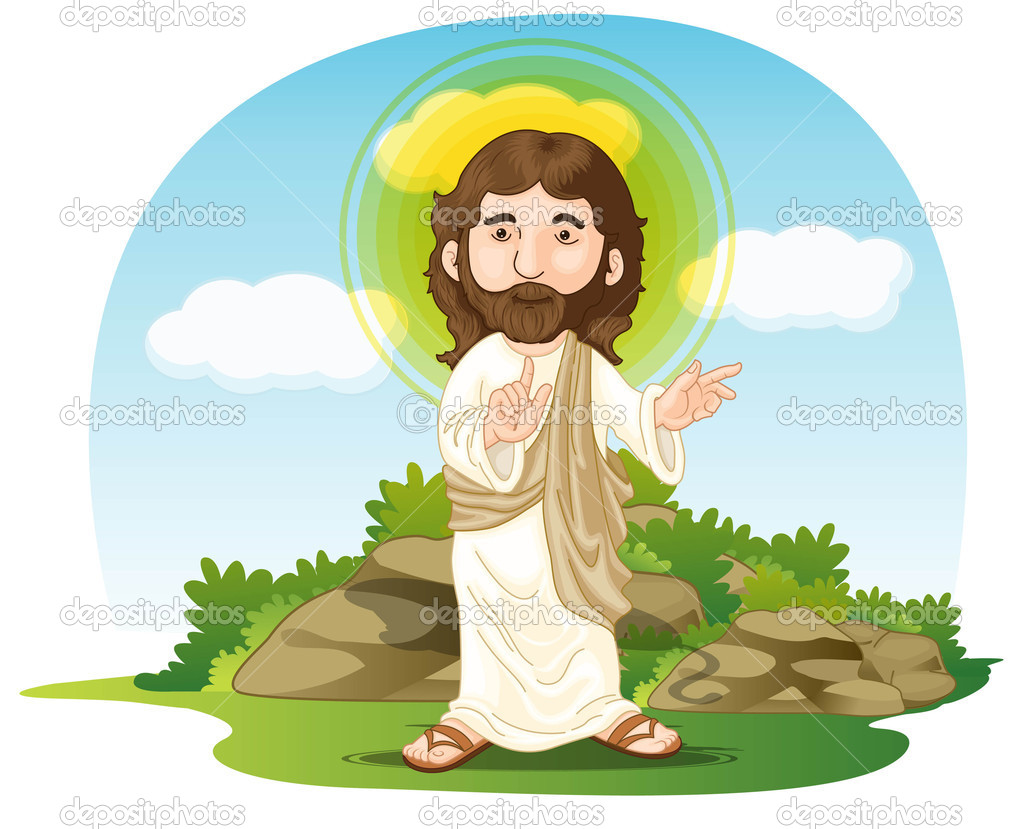 Illustration of jesus christ on white and blue — Stock Vector #10115129