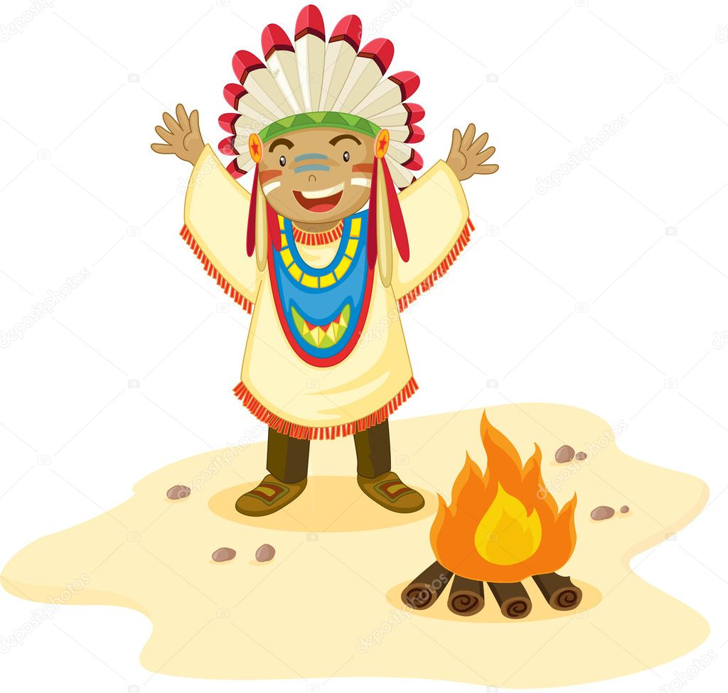 Indian cheif standing before a fire — Stock Vector #10115445