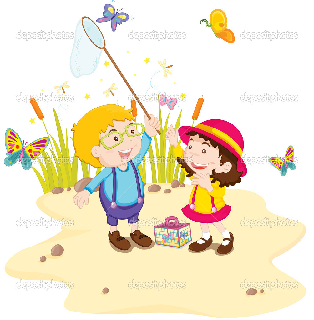 A pair of children catching butterflies — Stock Vector #10115478