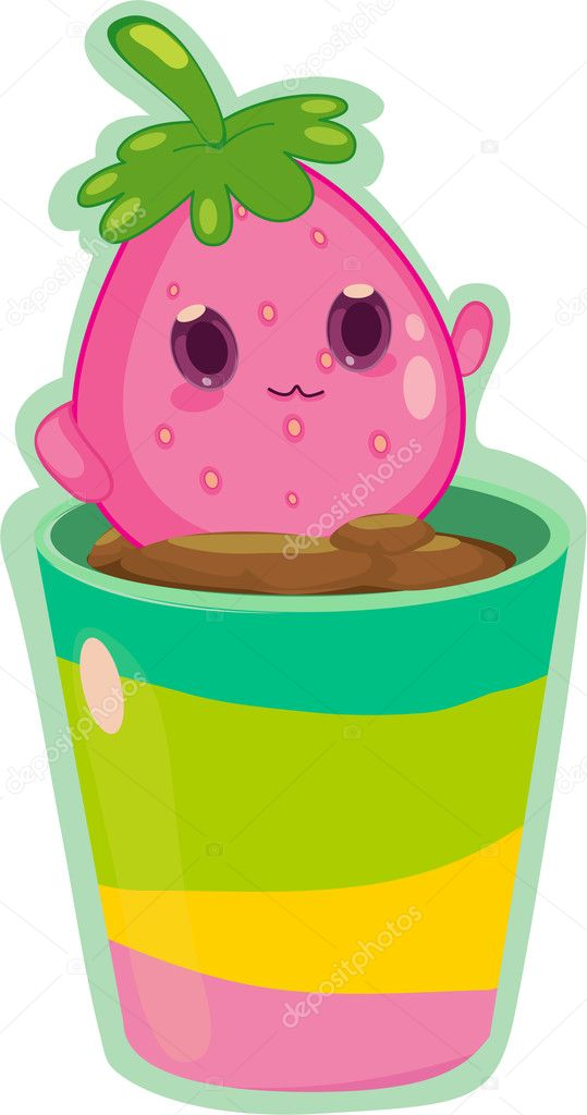 Living fruit creature inside flower pot — Stock Vector #10115657