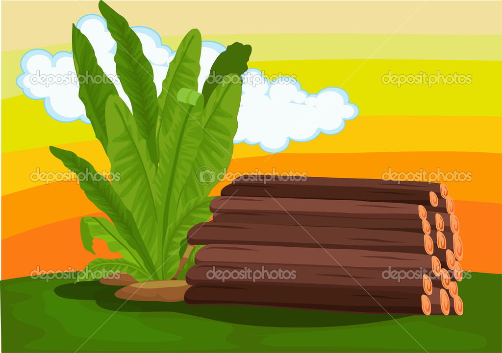 Pile of logs and a plant — Stock Vector #10115724