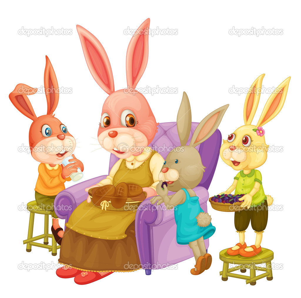 Illustration of family of rabbits — Stock Vector #10116164