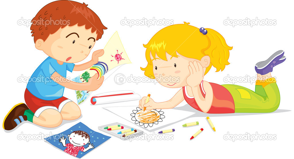 Niños de dibujo — Vector de stock © interactimages #10116396