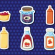 Stock Vector: Stickers of foods