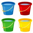 Buckets in four colours on white — Stock Vector #10273210