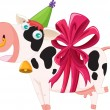 Stock Vector: Gift wrapped cow