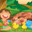 Girl meets ducklings — Stock Vector