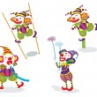 Stock Vector: Series of funny clowns