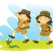 Stock Vector: Boy and girl scout
