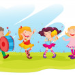 Stock Vector: Children performing