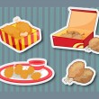 Fast food stickers - Stock Vector