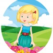 Stock Vector: Girl in meadow
